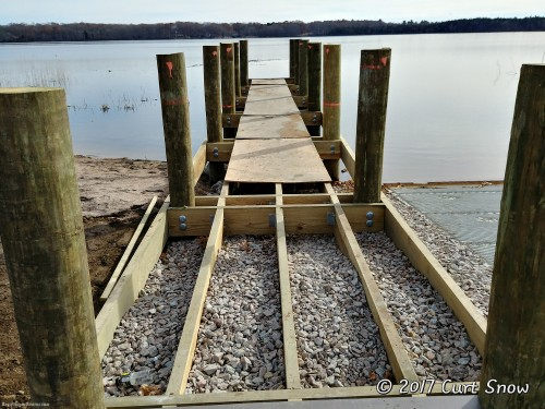 Dock structure in place. Just needs planks installed