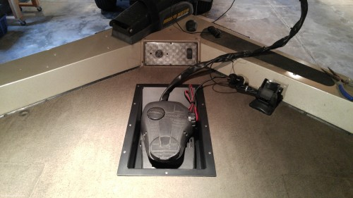 Trolling motor pedal in place.