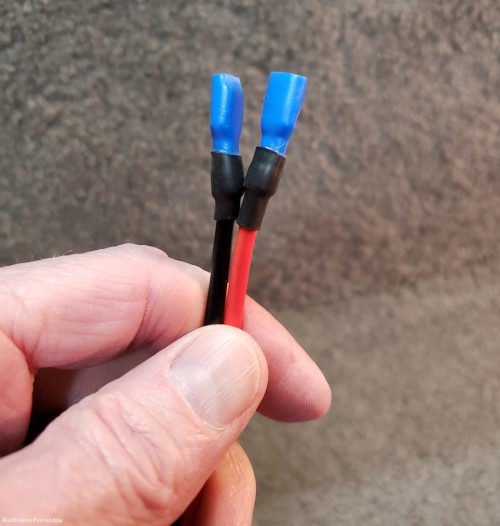 I crimped the connectors onto the 12 gauge wire and added heat shrink tubing for protection.